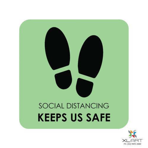 XLART DTS Covid19 Covid Floor Stickers Decals Social Distancing Sydney Melbourne Australia social distancing keeps us safe